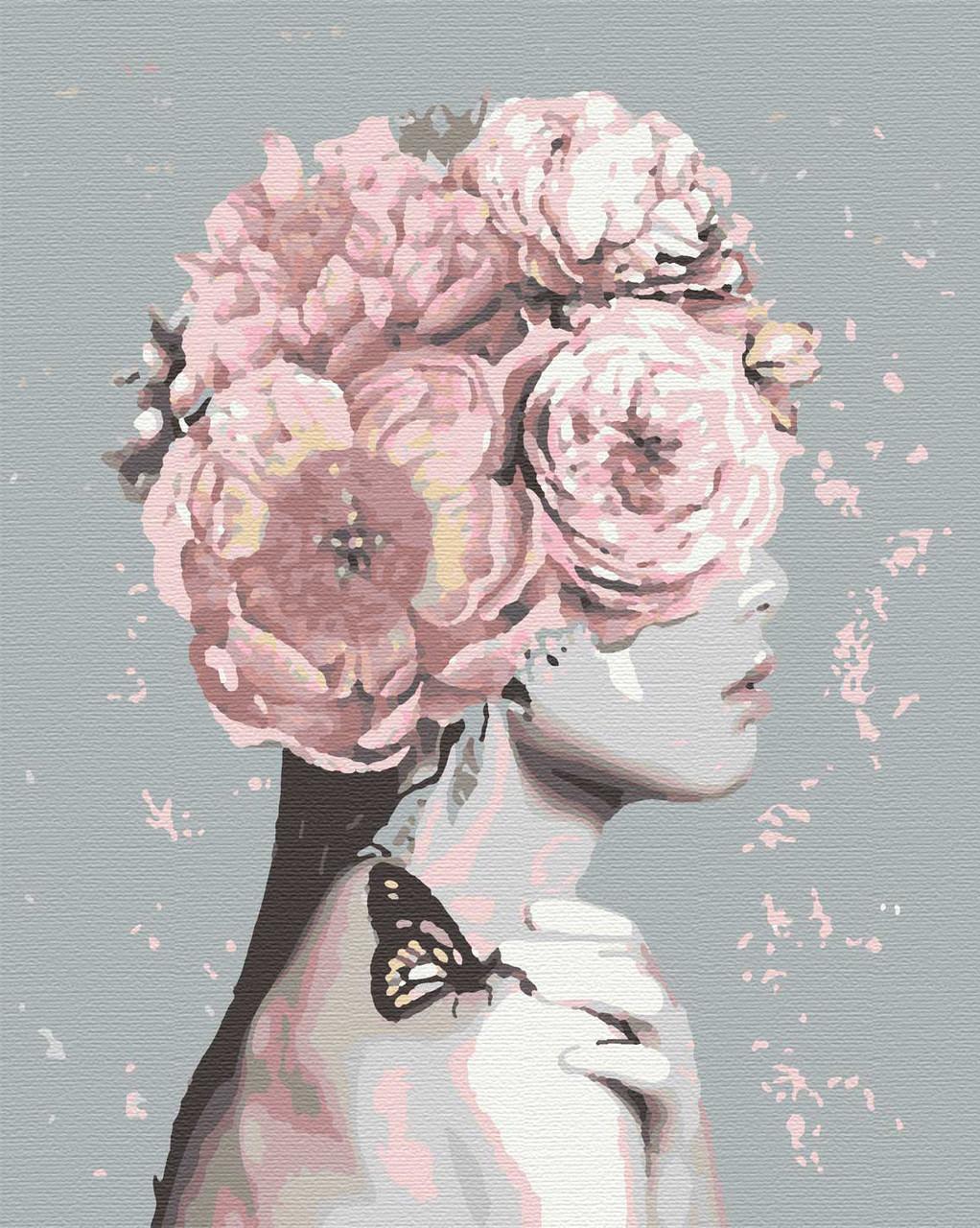 Картина за номерами люди дівчина квіти 40х50 Флора
