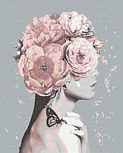Картина по номерам люди девушка цветы 40х50 Флора
