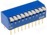 Переключатель SWD1-10 (DP-10 (тип пиано) (DIP-SWITCH ON-OFF 2,54мм)