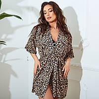 Пляжная накидка парео пляжный халат леопард и тигровый принт размер: от 42 до 64