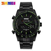 Skmei 1131 ARMY черные с зеленым кантом мужские наручные часы, фото 1