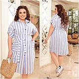 Женское платье рубашка из натурального льна сарафан размер: 48-50, 52-54, 56-58, 60-62, 64/66, фото 4