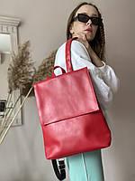 Жіночий червоний прямокутний рюкзак з шкірозамінника KL1x22