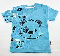 Футболка для новорождённых 3, 6, 9, 12 месяцев Турция для мальчиков летняя голубая (ФН2)