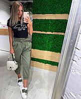 Женские летние коттоновые брюки. Размеры: 42-44, 44-46, 46-48. Цвет: беж, хаки, капучино.
