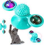 Іграшка для котів спиннер PetFun Карусель з котячою м'ятою і світлодіодним кулькою, фото 2