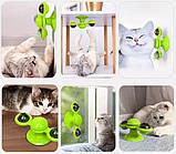 Іграшка для котів спиннер PetFun Карусель з котячою м'ятою і світлодіодним кулькою, фото 3
