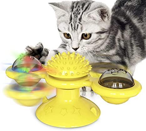 Игрушка для котов спиннер PetFun Карусель с кошачьей мятой и светодиодным шариком