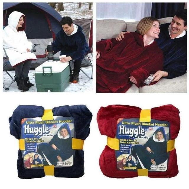 Плед толстовка з рукавами Huggle – плед флісовий м'яке худі теплу ковдру зручне комфортне худі