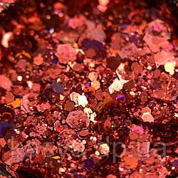 Гліттер голограмний мікс Червоний №11 / Holo Glitter Mix RED
