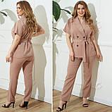 Жіночий діловий костюм жакет і брюки тканину костюмна річний костюм великі розміри від 48 до 66, фото 2
