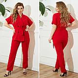 Жіночий діловий костюм жакет і брюки тканину костюмна річний костюм великі розміри від 48 до 66, фото 7