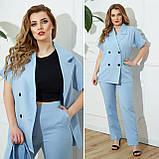 Жіночий діловий костюм жакет і брюки тканину костюмна річний костюм великі розміри від 48 до 66, фото 5