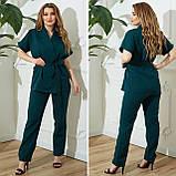 Жіночий діловий костюм жакет і брюки тканину костюмна річний костюм великі розміри від 48 до 66, фото 6