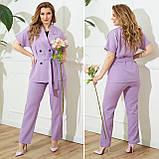 Жіночий діловий костюм жакет і брюки тканину костюмна річний костюм великі розміри від 48 до 66, фото 9