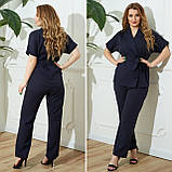 Жіночий діловий костюм жакет і брюки тканину костюмна річний костюм великі розміри від 48 до 66, фото 4