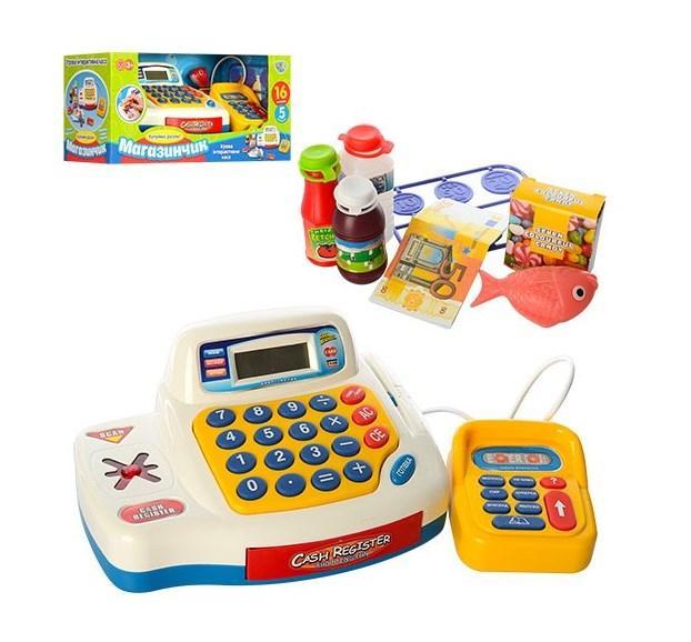 Касовий апарат дитячий на батарейках з продуктами (кошик)
