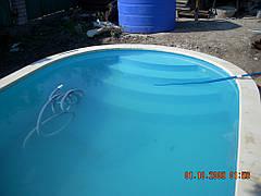 Запуск полипропиленового бассейна 5х3м. Пылесосим.