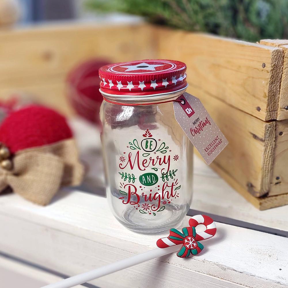 Банку Jar з соломинкою Merry Christmas, 450 мл (в асорт.)