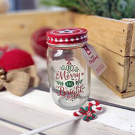 Банка Jar с соломинкой Merry Christmas, 450 мл (в ассорт.)