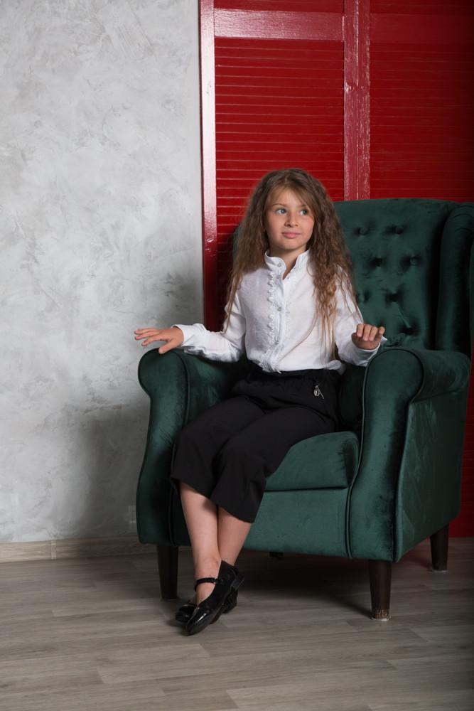 Белая рубашка для девочки, с длинным рукавом SmileTime Soft (ШКОЛА)