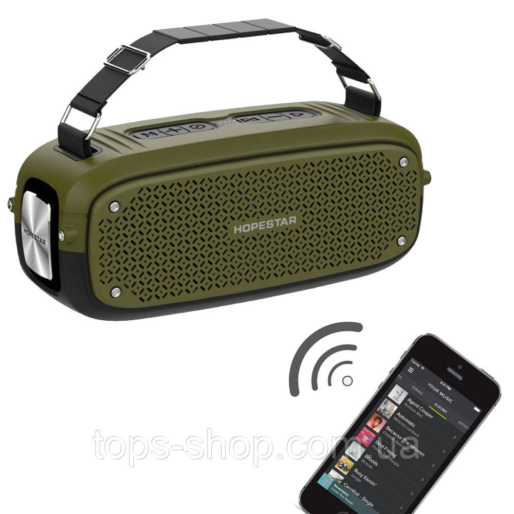 Портативна колонка Hopestar A21, стерео колонка Bluetooth c пило-вологозахистом, бездротова Зелена