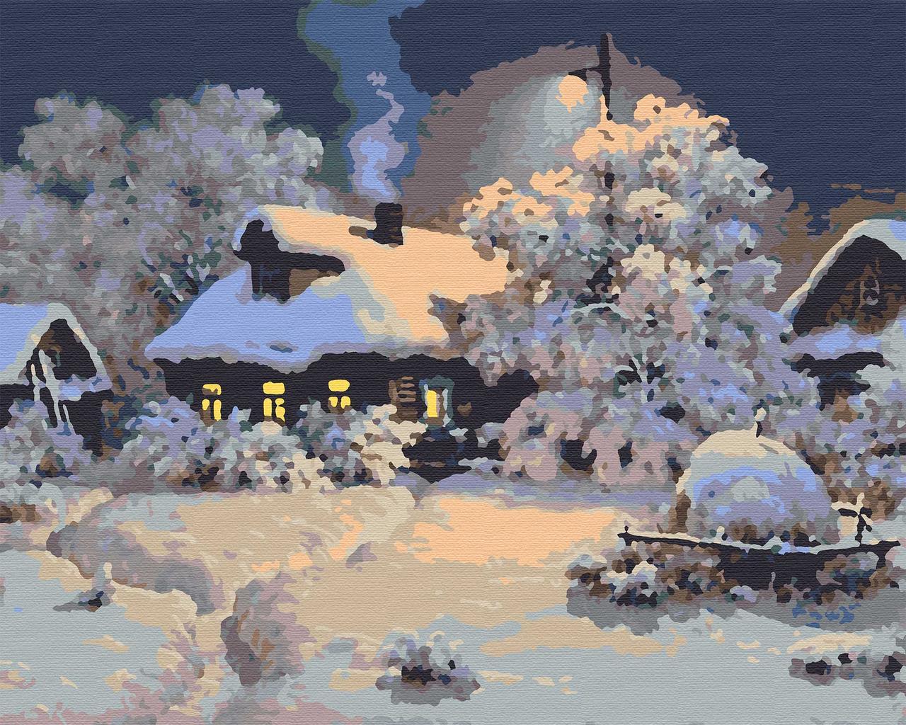 Картина по номерах природа пейзаж 40х50 Зимове село