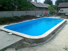 Полипропиленовый бассейн 7х3,5. Строительство пляжной зоны в процессе