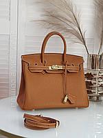 Модная кожаная женская сумка Hermes Birkin 30см. Цвет Camel. Натуральная кожа. Люкс.