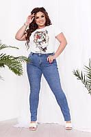 Женские джинсы стрейчевые большого размера БАТАЛ 50-60 тонкий летний джинс голубые прямые Китай