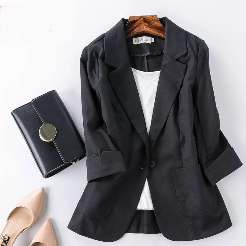 Женский пиджак, лен, р-р 42-44; 46-48; 50-52 (чёрный)