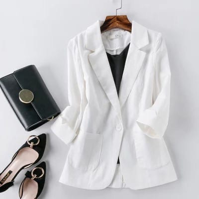 Женский пиджак, лен, р-р 42-44; 46-48; 50-52 (белый)