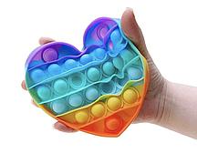 Антистресс сенсорная игрушка Pop It Сердечко Радужный NEW Bubble Разноцветная поп ит Popit Сердце