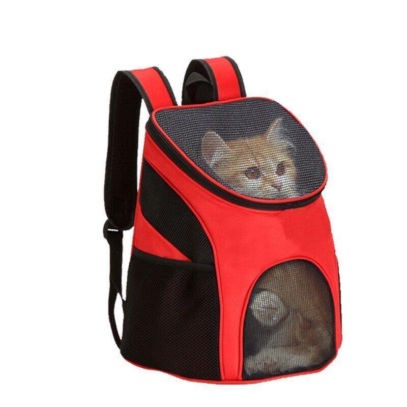 Рюкзак переноска для кошек и собак с сетчатыми вставками, красный