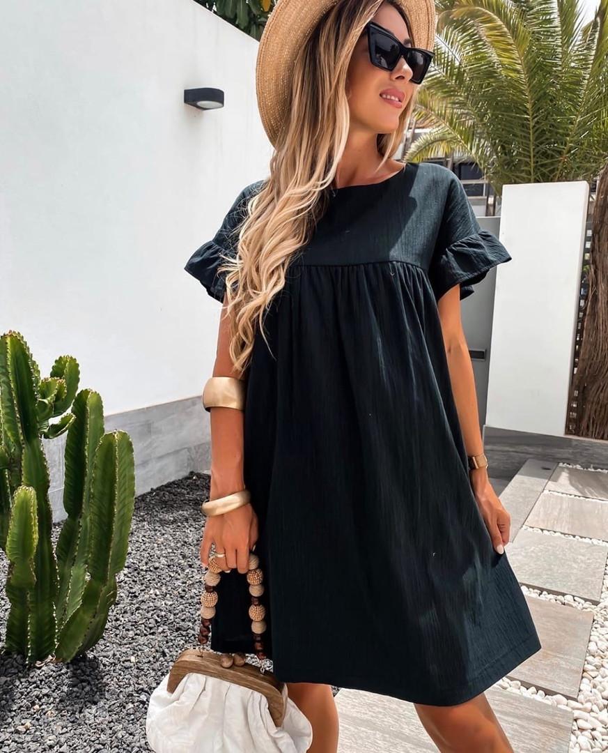 Жіноче плаття, американський льон, р-р 42-44; 46-48 (чорний)
