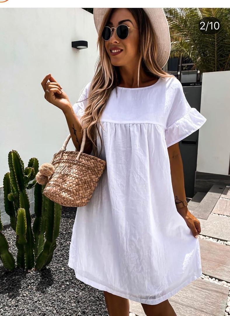 Женское платье, американский лен, р-р 42-44; 46-48 (белый)
