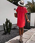 Жіноче плаття, американський льон, р-р 42-44; 46-48 (червоний), фото 2