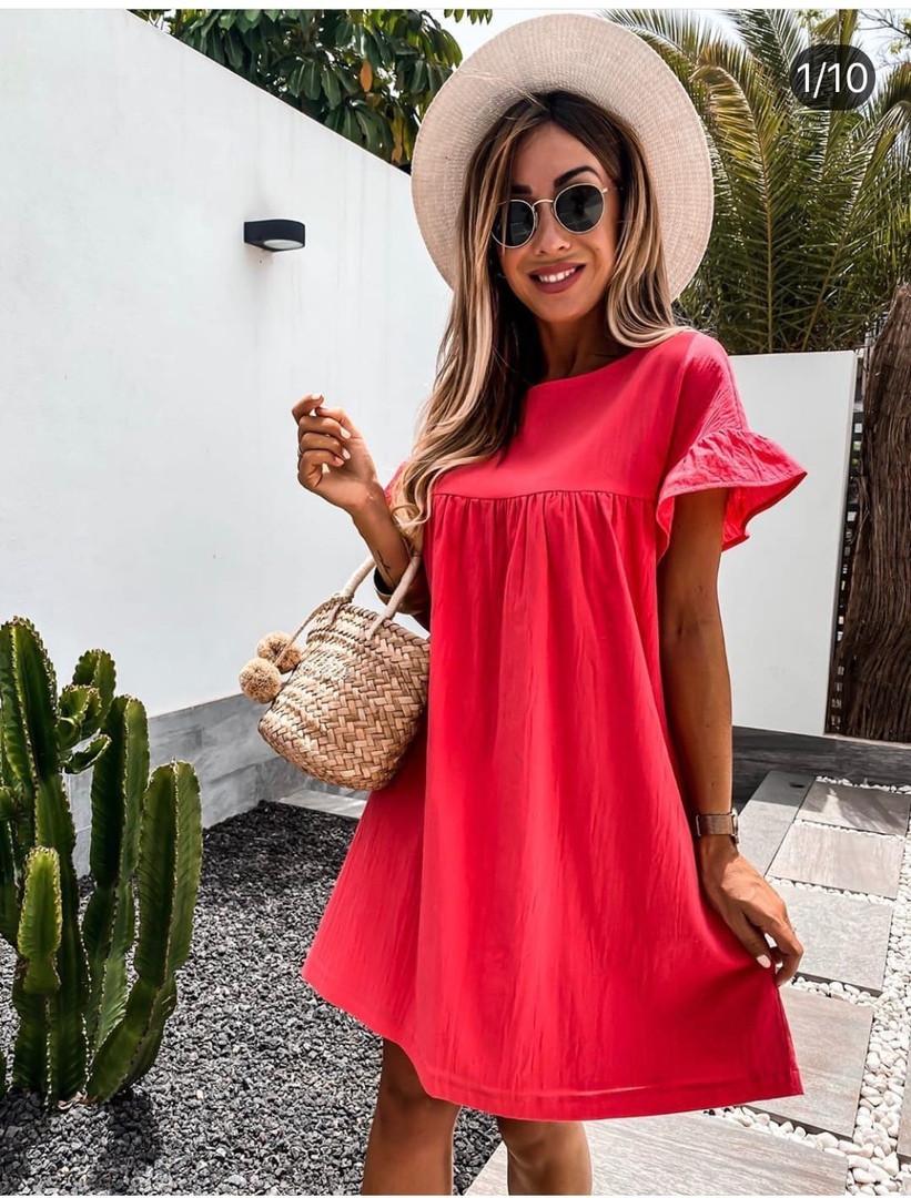 Жіноче плаття, американський льон, р-р 42-44; 46-48 (червоний)