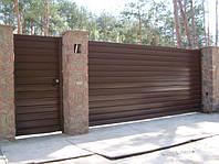 Ворота откатные, зашивка профнастил - горизонтальное исполнение