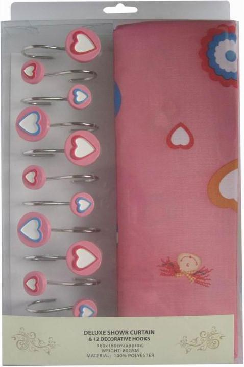 Занавеска для душа Arya Pink Love 180x180 см. 1352008