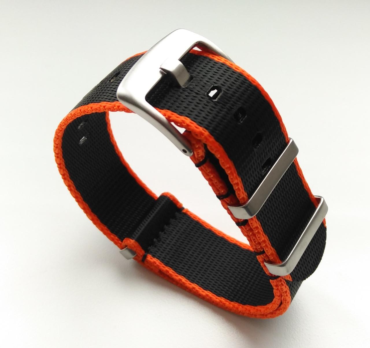 Упрочненный ремешок для часов. Черно-оранжевый. Нато, Nato. Мат. Нейлон. 22 мм