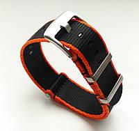 Упрочненный ремешок для часов. Черно-оранжевый. Нато, Nato. Мат. Нейлон. 22 мм, фото 1