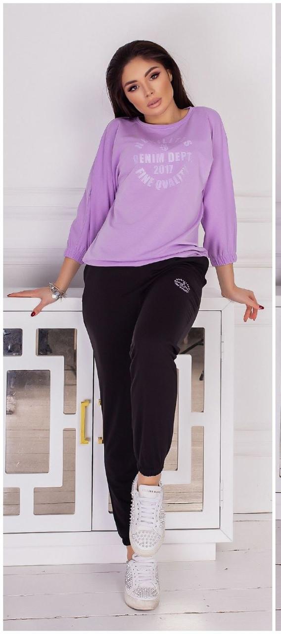 Спортивный костюм женский nobilitas 42 - 48 фиолетовый черный трикотаж (арт. 21011)