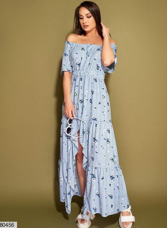 Р. 50-56 Жіноча літнє плаття максі з відкритими плечима і бічним розрізом батал