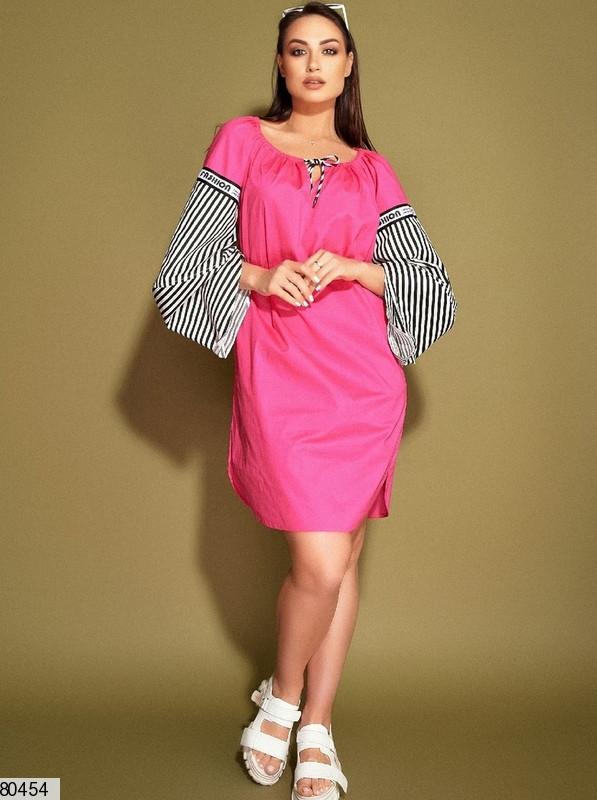 Р. 50-54 Женское коттоновое платье с объемными рукавами полубатал