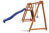 Деревнный дитячий комплекс Sportbaby Babyland-8 для вуличної майданчики гірка з гойдалкою кільцями скелелазка, фото 2