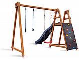 Деревнный дитячий комплекс Sportbaby Babyland-8 для вуличної майданчики гірка з гойдалкою кільцями скелелазка, фото 3
