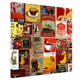 Картина на тканини, 65х65 см Ретро постери
