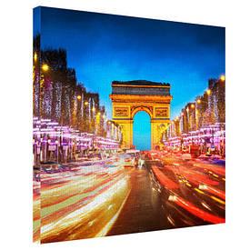 Картина на тканини, 65х65 см Нічна Тріумфальна Арка, Париж
