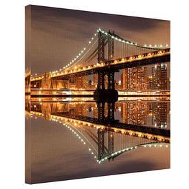 Картина на тканини, 65х65 см Нічний Бруклінський міст